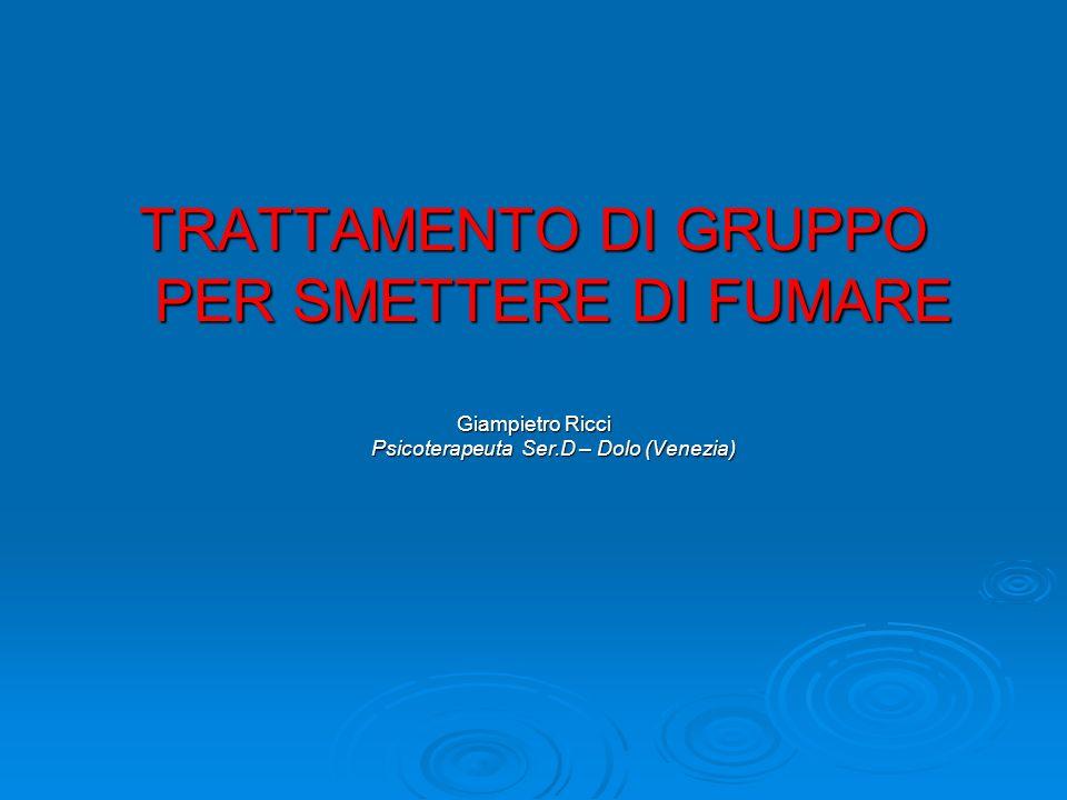 TRATTAMENTO DI GRUPPO PER SMETTERE DI FUMARE