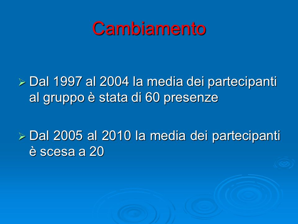 Cambiamento Dal 1997 al 2004 la media dei partecipanti al gruppo è stata di 60 presenze.