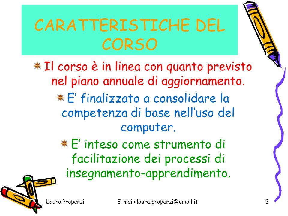 CARATTERISTICHE DEL CORSO