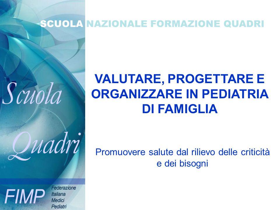 VALUTARE, PROGETTARE E ORGANIZZARE IN PEDIATRIA DI FAMIGLIA