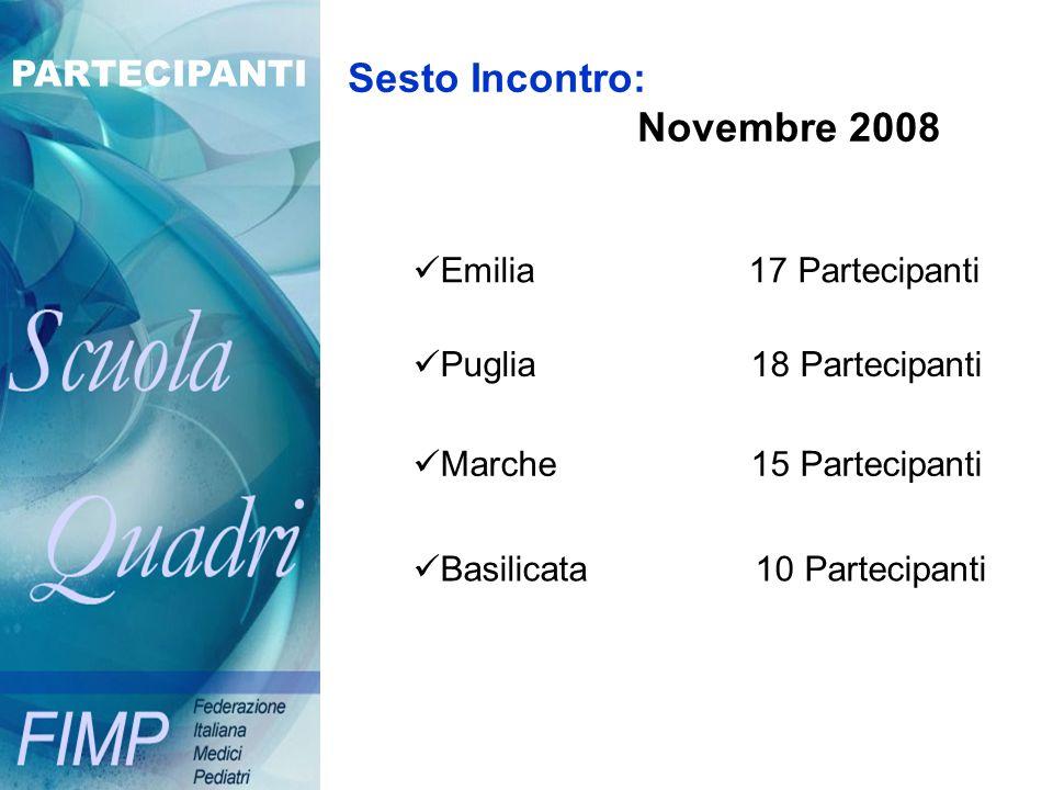 Sesto Incontro: Novembre 2008 PARTECIPANTI Emilia 17 Partecipanti