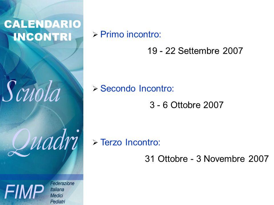CALENDARIO INCONTRI 19 - 22 Settembre 2007 3 - 6 Ottobre 2007