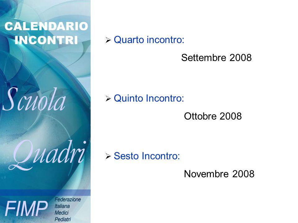 CALENDARIO INCONTRI Settembre 2008 Ottobre 2008 Novembre 2008