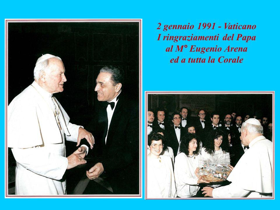 I ringraziamenti del Papa al M° Eugenio Arena ed a tutta la Corale