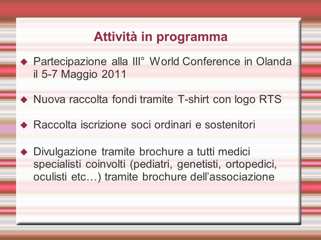Attività in programma Partecipazione alla III° World Conference in Olanda il 5-7 Maggio 2011. Nuova raccolta fondi tramite T-shirt con logo RTS.