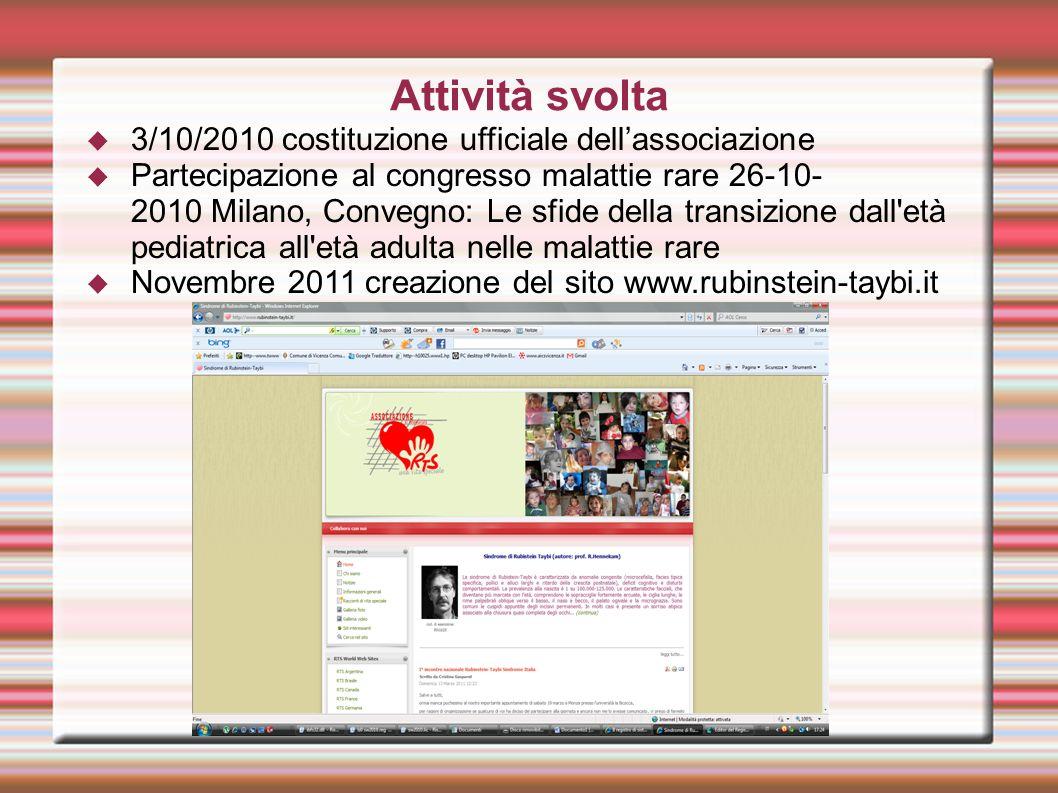 Attività svolta 3/10/2010 costituzione ufficiale dell'associazione