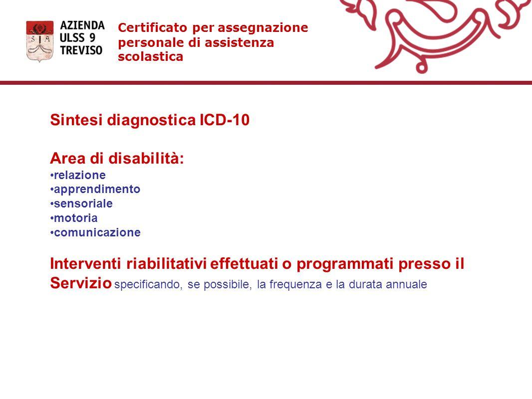 Certificato per assegnazione personale di assistenza scolastica