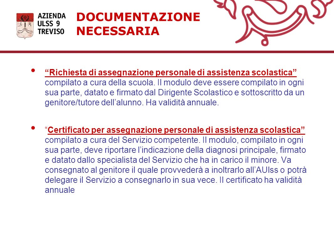 DOCUMENTAZIONE NECESSARIA