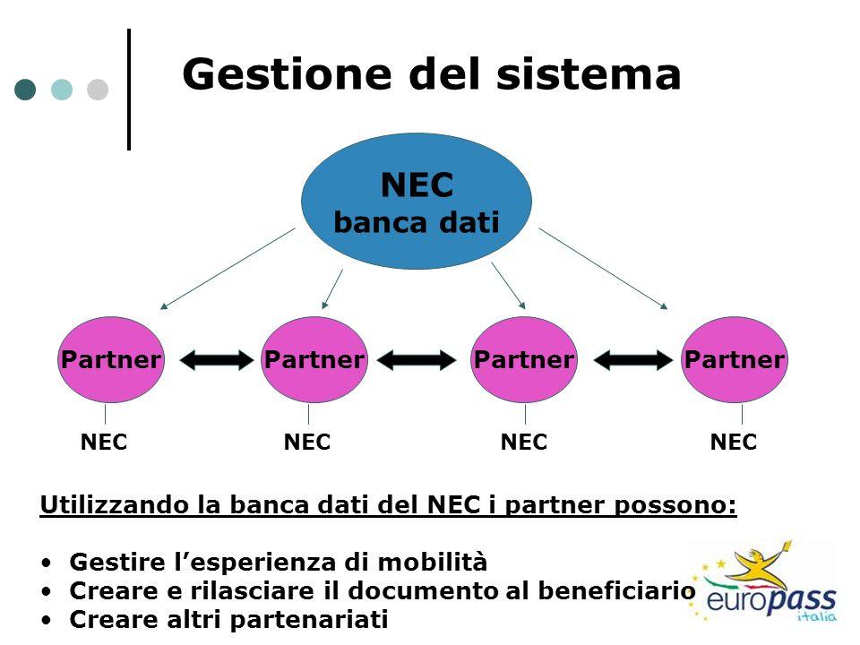 Gestione del sistema NEC banca dati Partner Partner Partner Partner
