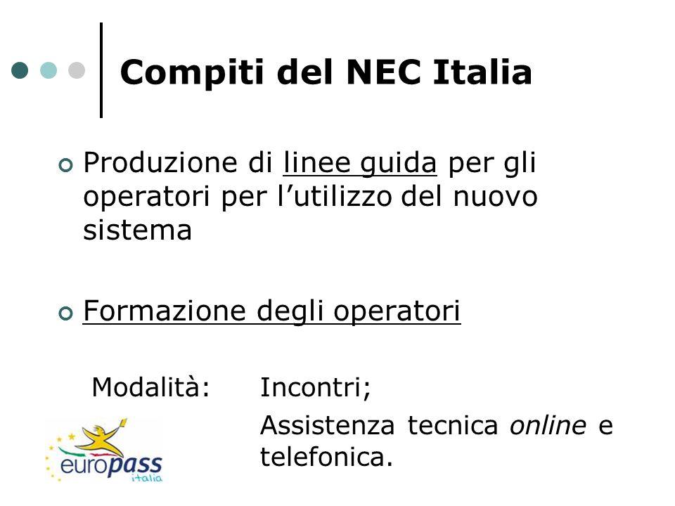 Compiti del NEC Italia Produzione di linee guida per gli operatori per l'utilizzo del nuovo sistema.
