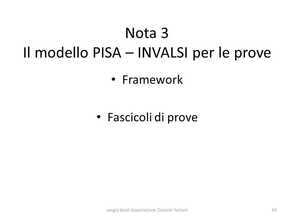 Nota 3 Il modello PISA – INVALSI per le prove