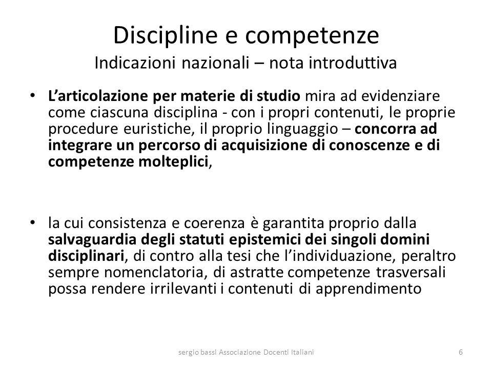 Discipline e competenze Indicazioni nazionali – nota introduttiva