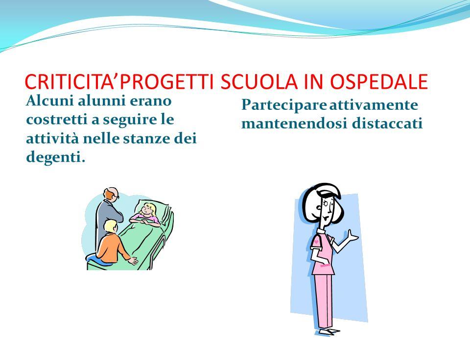 CRITICITA'PROGETTI SCUOLA IN OSPEDALE