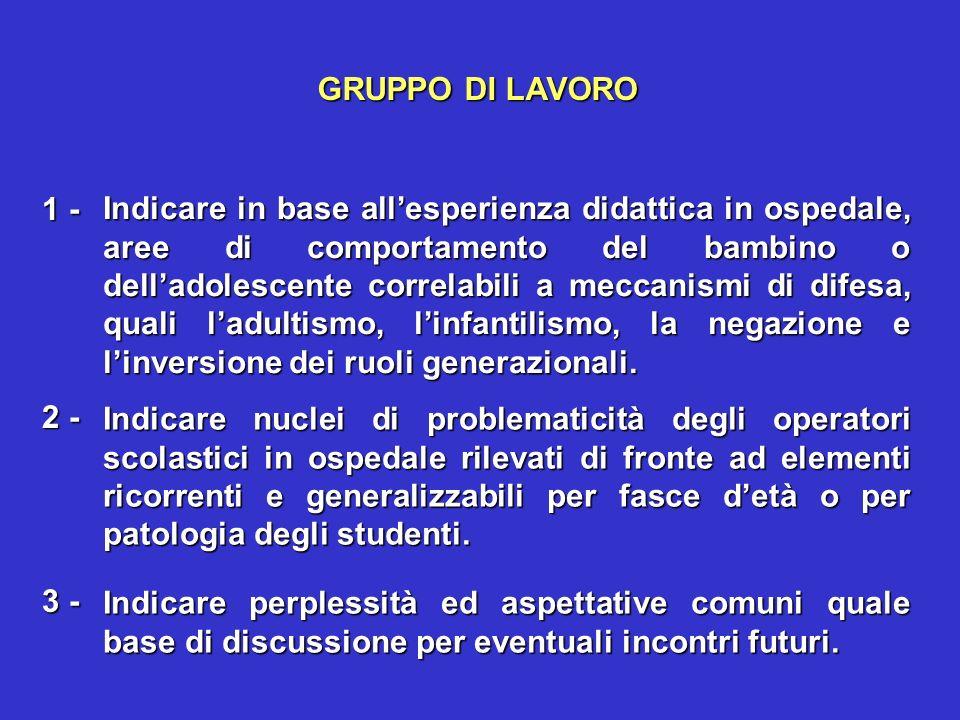 GRUPPO DI LAVORO 1 -