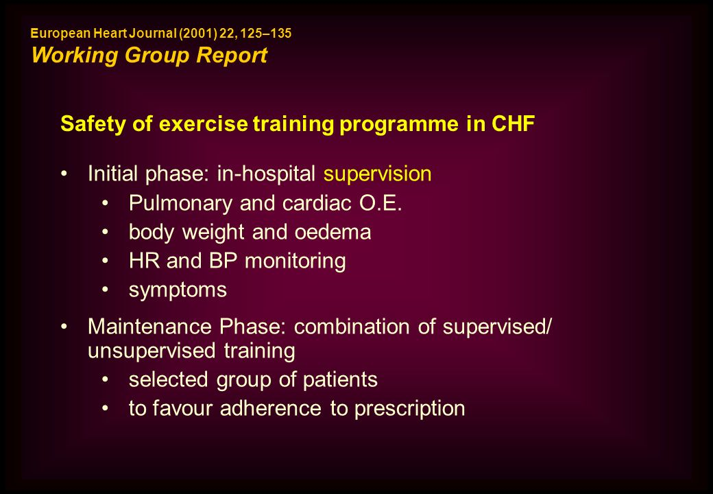 Safety of exercise training programme in CHF