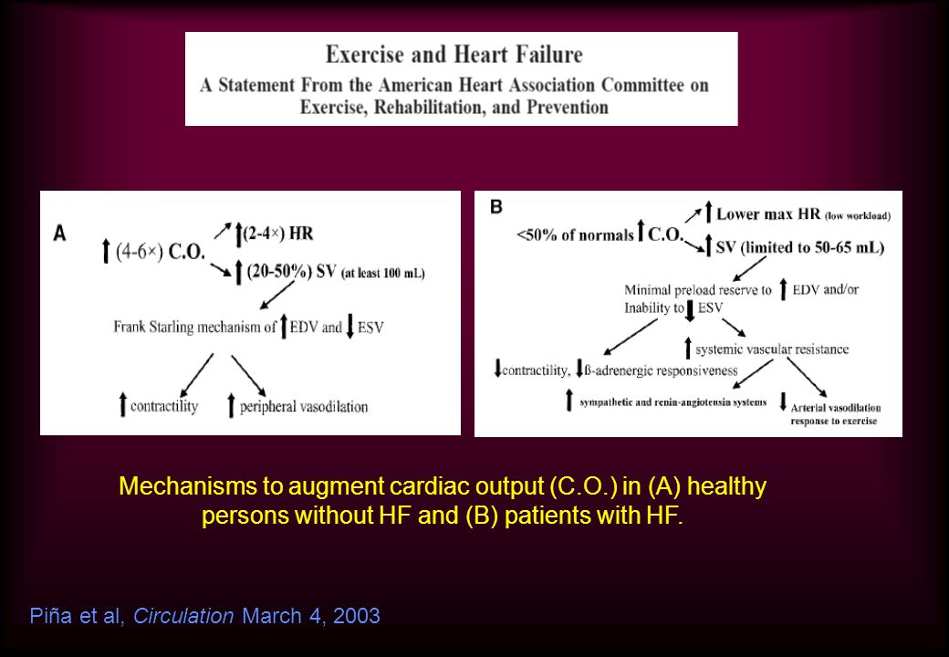 Mechanisms to augment cardiac output (C.O.) in (A) healthy