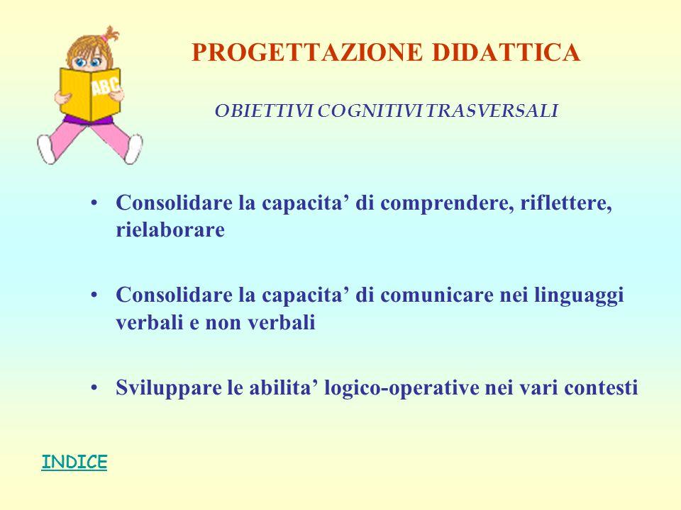 PROGETTAZIONE DIDATTICA OBIETTIVI COGNITIVI TRASVERSALI