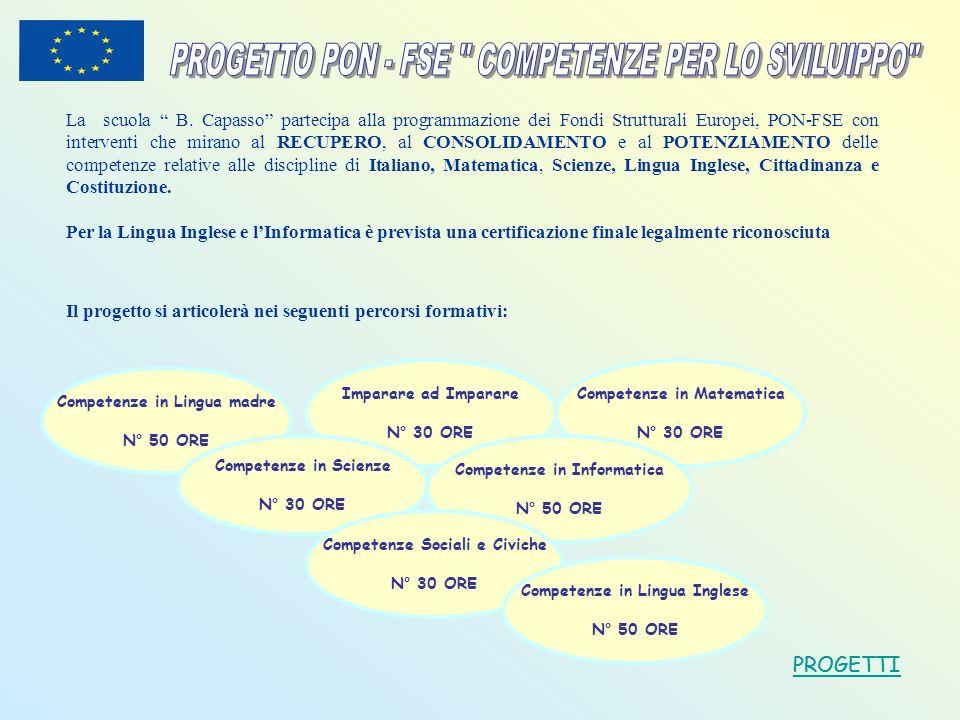PROGETTO PON - FSE COMPETENZE PER LO SVILUIPPO