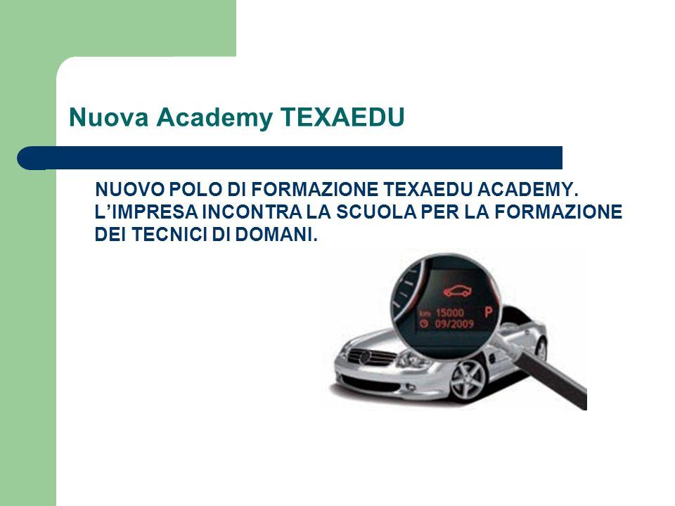 Nuova Academy TEXAEDUNUOVO POLO DI FORMAZIONE TEXAEDU ACADEMY. L'IMPRESA INCONTRA LA SCUOLA PER LA FORMAZIONE DEI TECNICI DI DOMANI.
