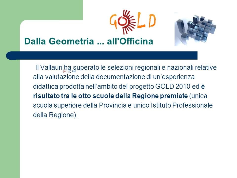 Dalla Geometria ... all Officina