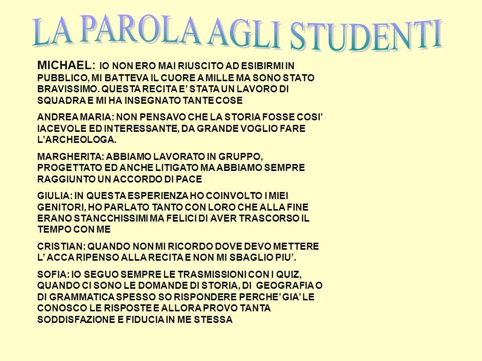 LA PAROLA AGLI STUDENTI