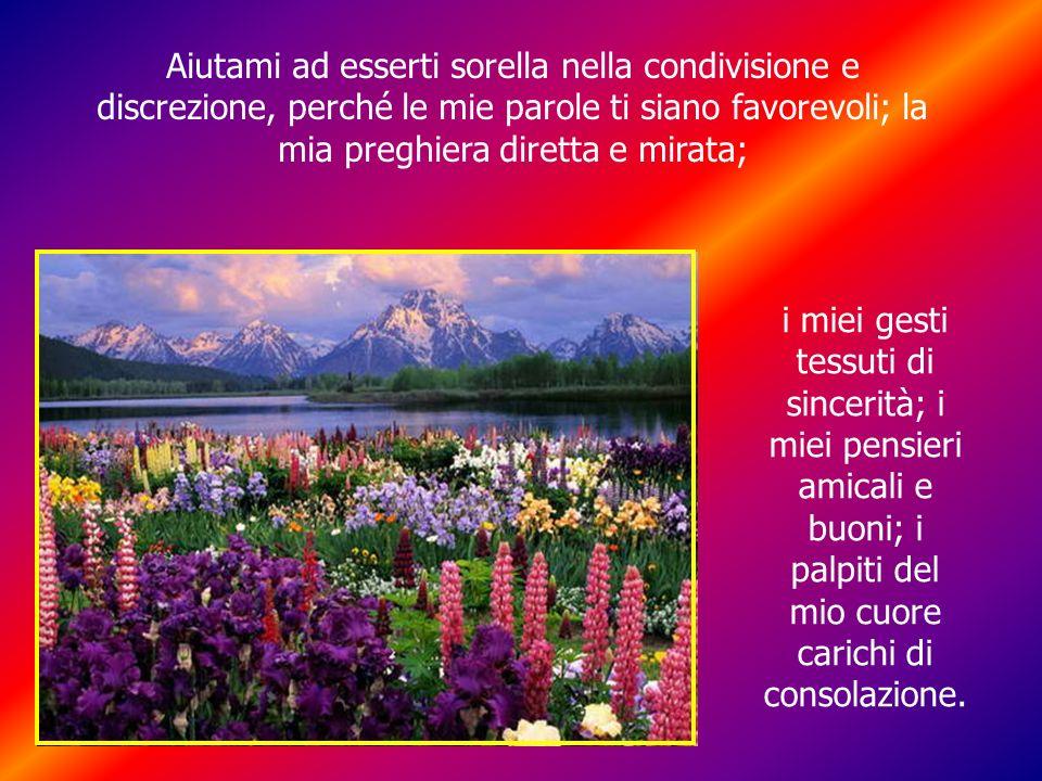 Aiutami ad esserti sorella nella condivisione e discrezione, perché le mie parole ti siano favorevoli; la mia preghiera diretta e mirata;