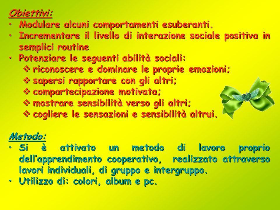 Obiettivi: Modulare alcuni comportamenti esuberanti. Incrementare il livello di interazione sociale positiva in semplici routine.