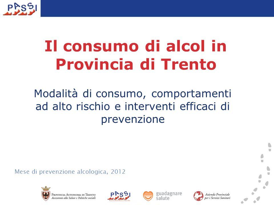Il consumo di alcol in Provincia di Trento