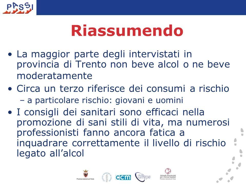Riassumendo La maggior parte degli intervistati in provincia di Trento non beve alcol o ne beve moderatamente.