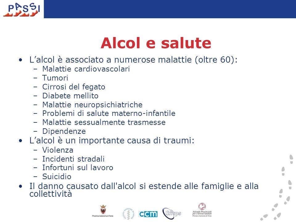 Alcol e salute L'alcol è associato a numerose malattie (oltre 60):