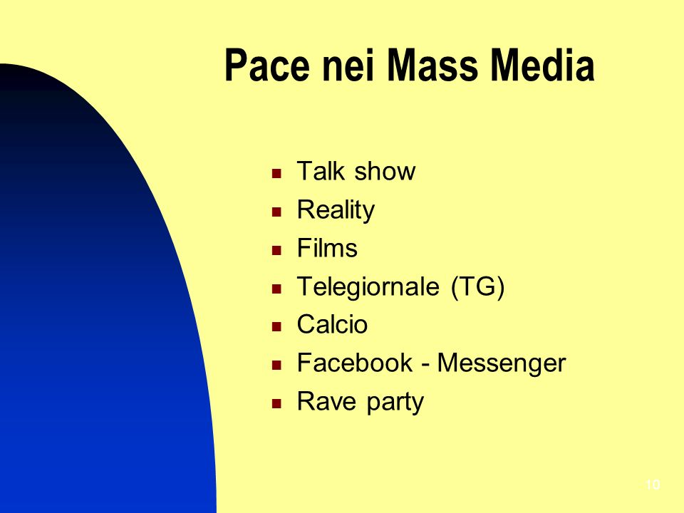 Pace nei Mass Media Talk show Reality Films Telegiornale (TG) Calcio