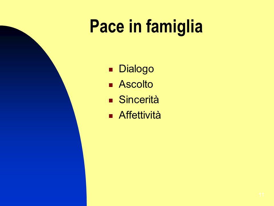 Pace in famiglia Dialogo Ascolto Sincerità Affettività