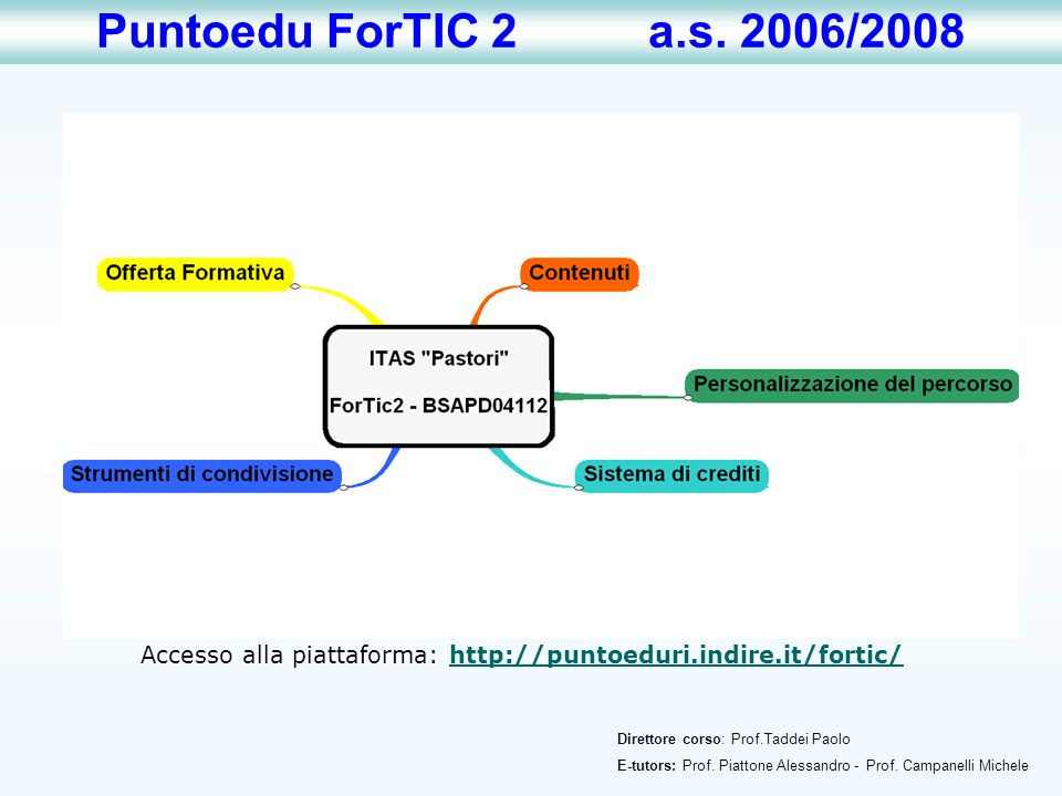 Puntoedu ForTIC 2 a.s. 2006/2008 Accesso alla piattaforma: http://puntoeduri.indire.it/fortic/