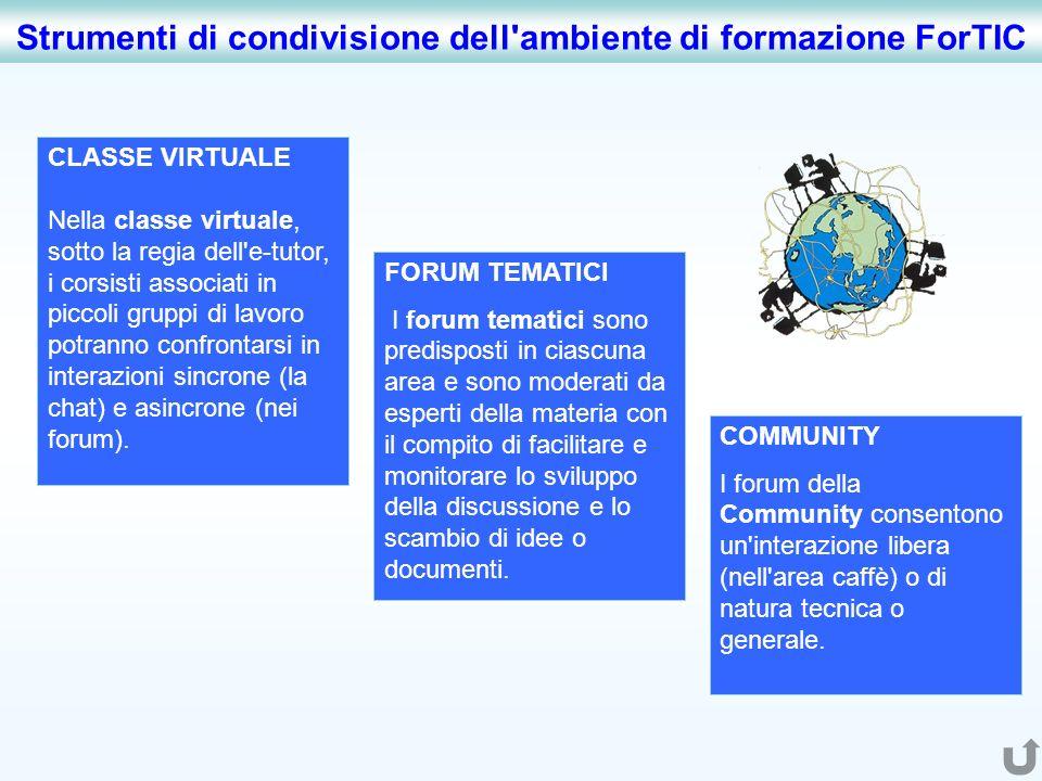 Strumenti di condivisione dell ambiente di formazione ForTIC