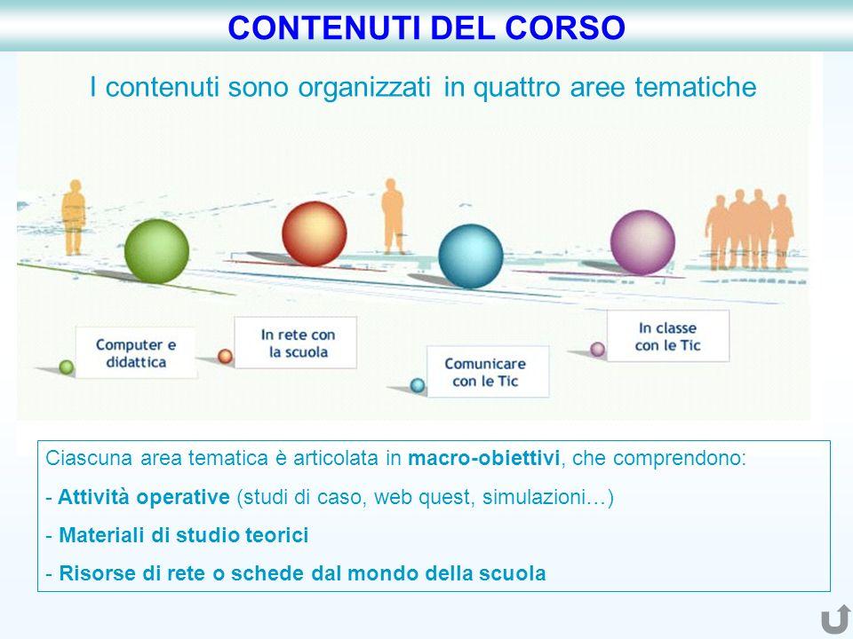 I contenuti sono organizzati in quattro aree tematiche