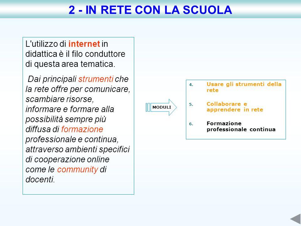 2 - IN RETE CON LA SCUOLA L utilizzo di internet in didattica è il filo conduttore di questa area tematica.