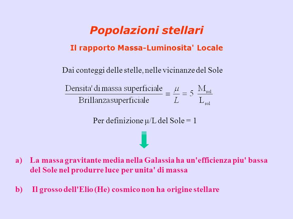 Popolazioni stellari Il rapporto Massa-Luminosita Locale