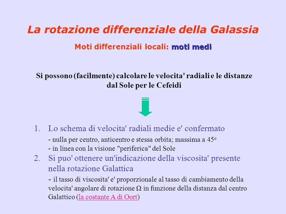 La rotazione differenziale della Galassia Moti differenziali locali: moti medi
