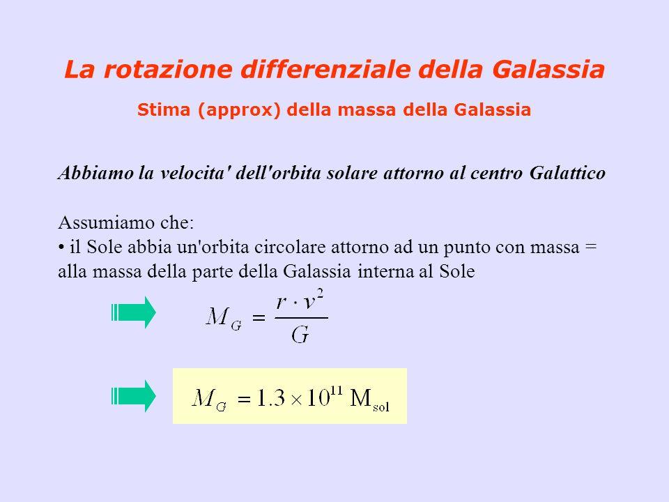 La rotazione differenziale della Galassia Stima (approx) della massa della Galassia