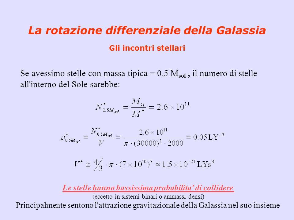 La rotazione differenziale della Galassia Gli incontri stellari