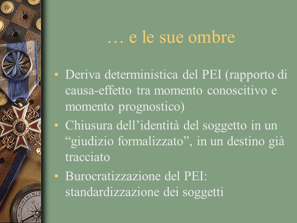 … e le sue ombre Deriva deterministica del PEI (rapporto di causa-effetto tra momento conoscitivo e momento prognostico)