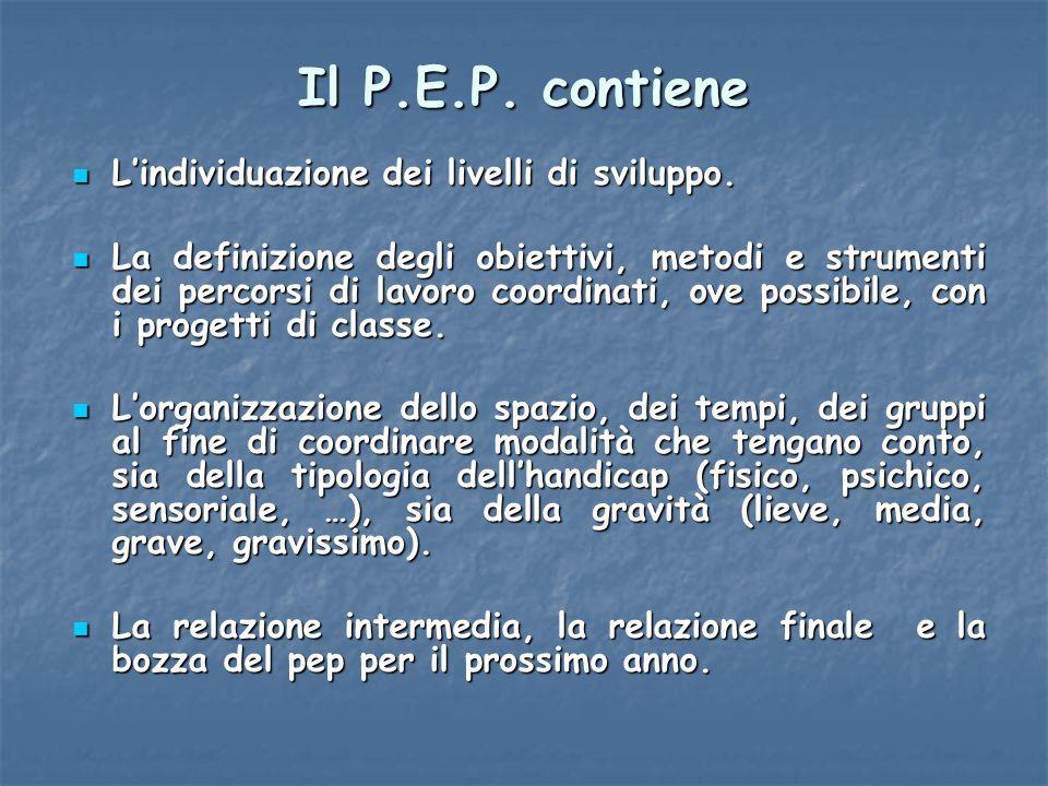 Il P.E.P. contiene L'individuazione dei livelli di sviluppo.