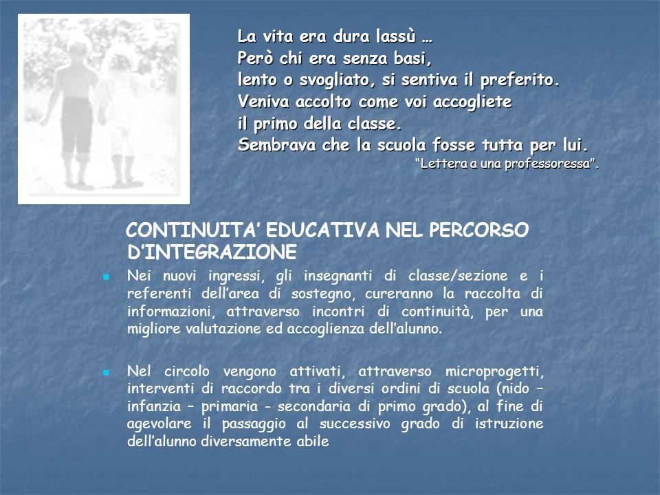 CONTINUITA' EDUCATIVA NEL PERCORSO D'INTEGRAZIONE