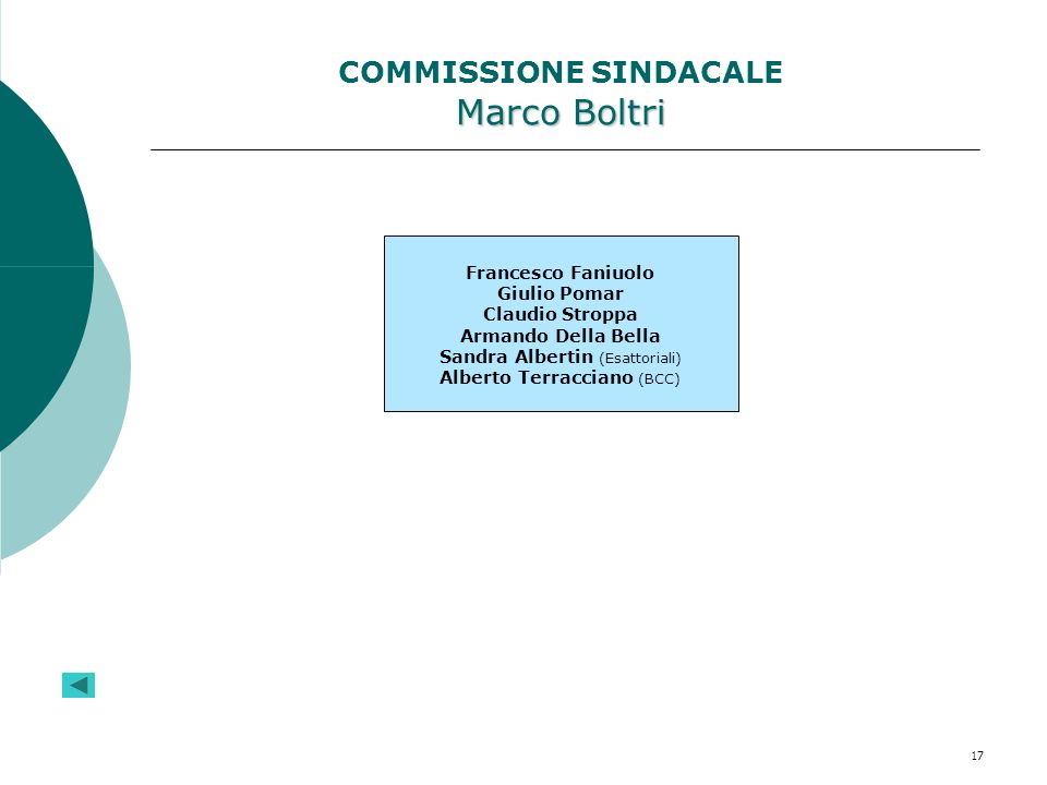 COMMISSIONE SINDACALE Marco Boltri
