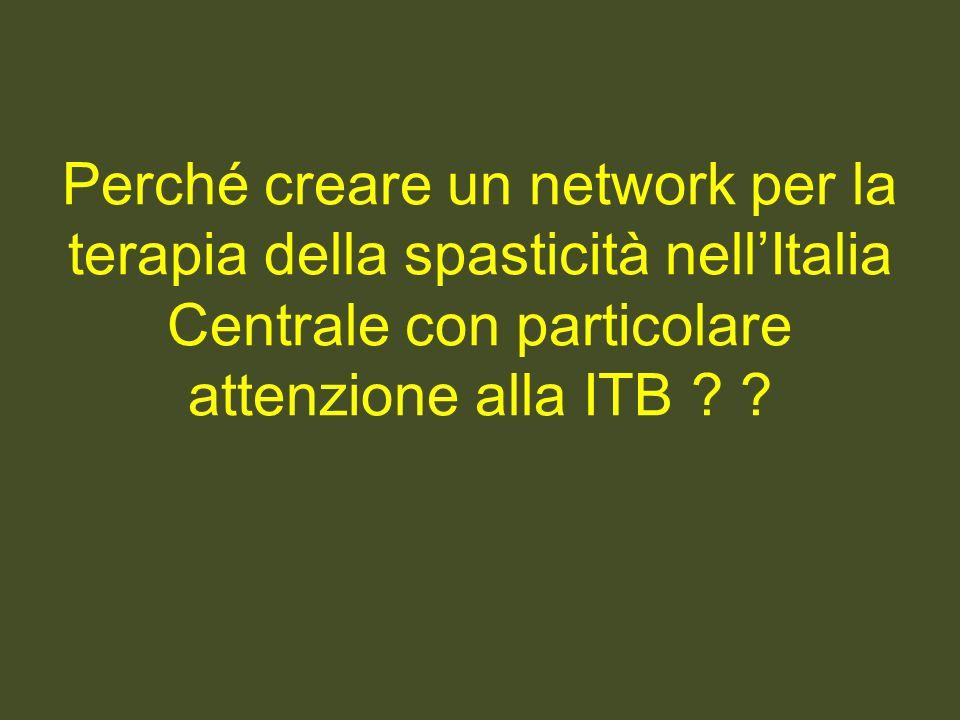 Perché creare un network per la terapia della spasticità nell'Italia Centrale con particolare attenzione alla ITB .
