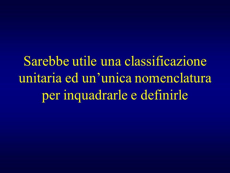 Sarebbe utile una classificazione unitaria ed un'unica nomenclatura per inquadrarle e definirle