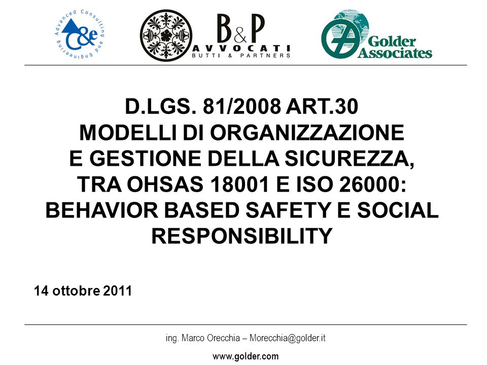 MODELLI DI ORGANIZZAZIONE E GESTIONE DELLA SICUREZZA,