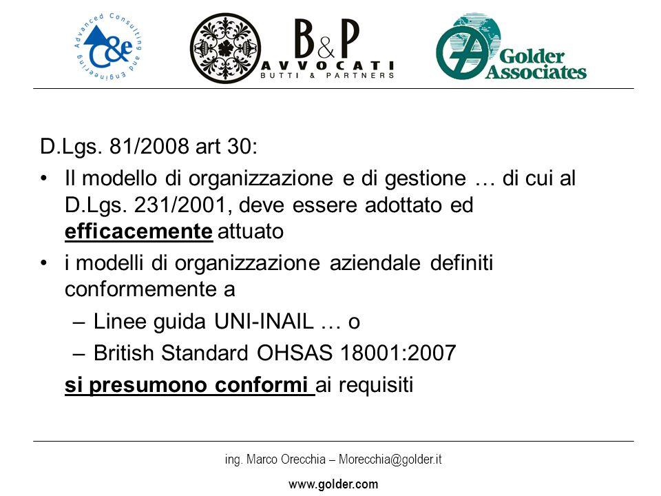 D.Lgs. 81/2008 art 30: Il modello di organizzazione e di gestione … di cui al D.Lgs. 231/2001, deve essere adottato ed efficacemente attuato.