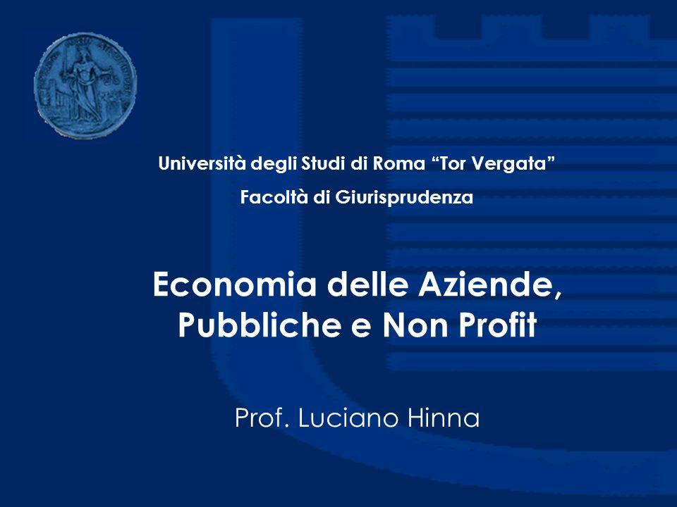 Economia delle Aziende, Pubbliche e Non Profit