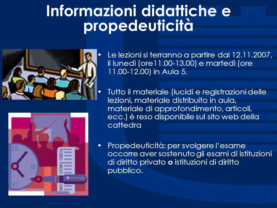 Informazioni didattiche e propedeuticità